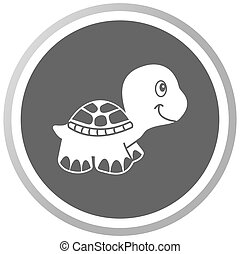 a turtle in a grey Panel