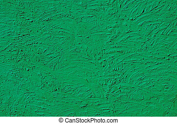 The texture of green walls painted large erratic strokes of...