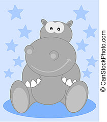 a grey hippo sitting smiling for ch