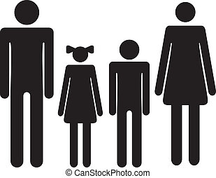 Silhouette family. Icon woman, man, boy, girl