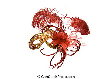 Venetian mask red with gold, isolated on white