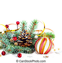 Christmas tree branch with gold serpentine and pink sphere...