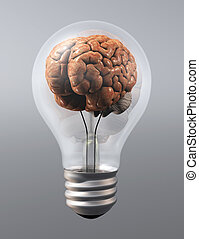 a brain into a light bulb - a human brain is inside a light...