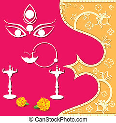 Happy Navratri - easy to edit vector illustration of face of...