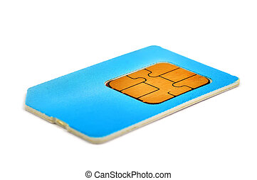 sim card - blue sim card isolated on white background