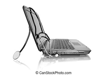 medical technology - medicine technology laptop with...