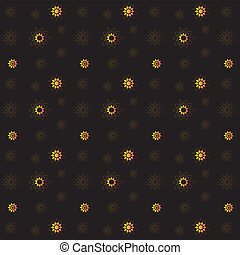 Vector golden rich floral seamless pattern on black background
