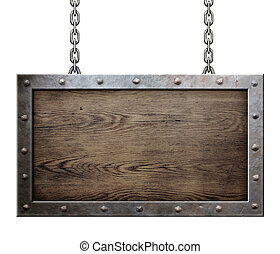 old metal frame with chains - old metal frame over wooden...