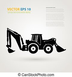 Vector isolated tractor icons silhouettes - Vector isolated...