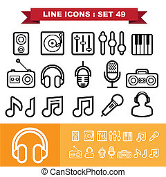 ww-06 - Music Line icons set 49 Illustration eps 10