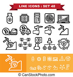 Bitcoin Line icons set 48 Illustration eps 10