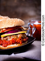 Burger with ajvar - Mini beef burger stuffed with ajvar...