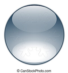 Blue glossy sphere or button with snowflake