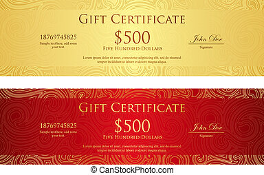 Luxury golden and red gift certificate with swirl pattern -...