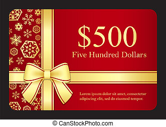 Red gift card with golden snowflakes and ribbon - Gift card...