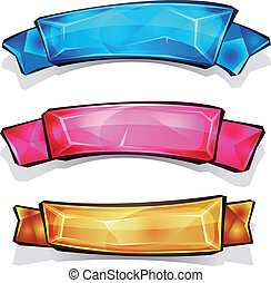 Gems And Diamonds Banners And Ribbons - Illustration of a...