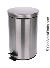 Top side of closed trash can scratch surface on white background.
