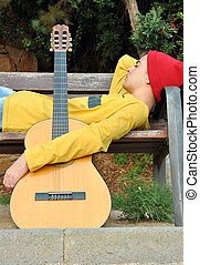 modern musician posing with his guitar - modern musician...