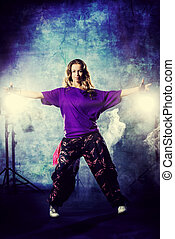 grunge dance - Modern hip-hop dancer over grunge background