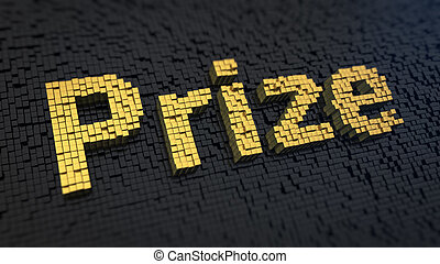 Prize cubics - Word 'Prize' of the yellow square pixels on a...