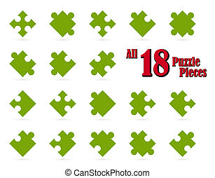 All 18 puzzle pieces - green