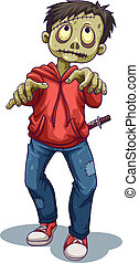 A male zombie - Illustration of a male zombie on a white...