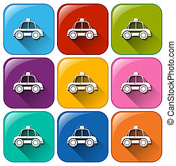 Buttons with police cars - Illustration of the buttons with...