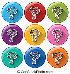 Round buttons with question marks - Illustration of the...