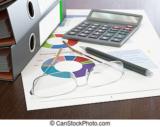 Calculator and Stack of Ring Binders