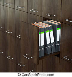 File cabinet with half-open drawer