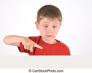 Boy Pointing to Blank Object on White Background - A young...