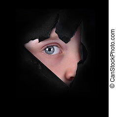 Child Peeking Through Black Paper - A child is peeking...