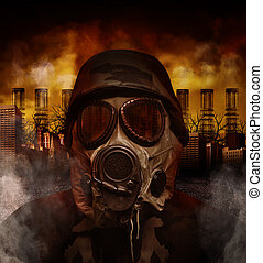 Gas Mask War Soldier in Polluted Danger City - A soldier is...