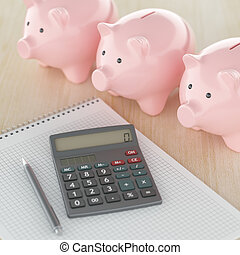 Home Finances - Calculating at home savings concept