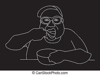 fatboy pig out line art logo vector illustration