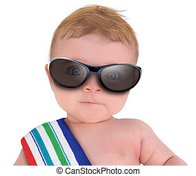 Cool Baby with Sunglasses on White - A little baby is...