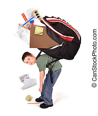 niño, pesado, escuela, deberes, libro, bolsa