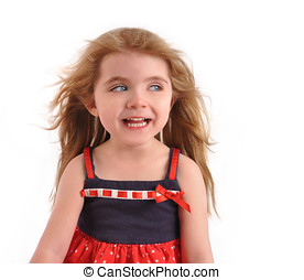 Happy Excited Child Looking on White Background - A happy...