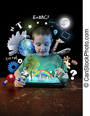 Internet Tablet Boy with Learning Tools - A young boy child...