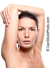 Close Up of Woman with Arms Above Head in Studio with White...