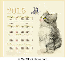 Calendar 2015 with fluffy kitten and butterfly