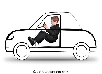 Work Boy Driving Invisible Car on White - A young boy in a...