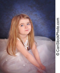 Little Beautiful Glamour Girl in White Dress - A beautiful...