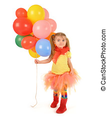 Little Girl Holding Party Balloons on White - A little girl...