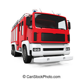 Fire Rescue Truck isolated on white background 3D render