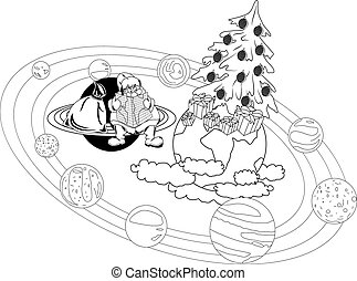 Santa Claus sitting with a map on the rings of the planet,...