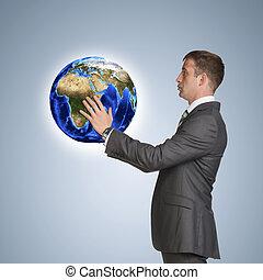 uomo affari, completo, presa, Terra