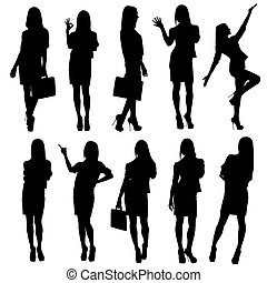Business woman silhouettes Isolated on white background