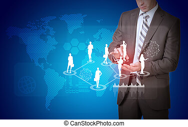 Businessman and world map with businesswoman silhouettes -...