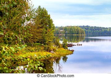 otoño, paisaje, Salmón, lago